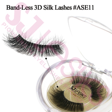 Clear Invisible Band 3D Eyelash 3D Silk Mink Lashes With Own Brand Circle Case
