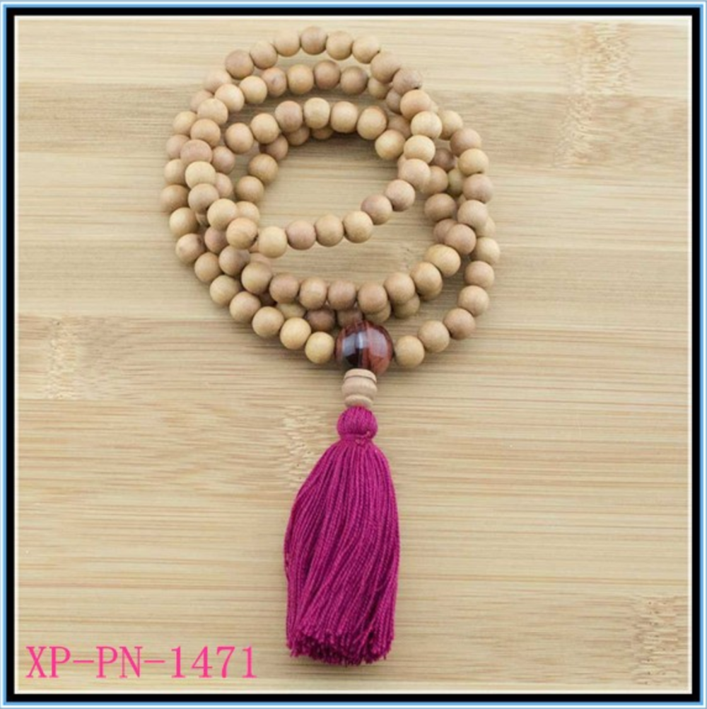 Yiwu jinhua wood mala beads long tassel necklace