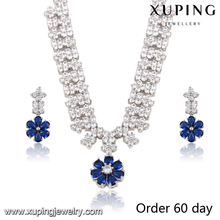 S-2-xuping wonderful luxury diamond blue stone bridal silver flower jewelry sets