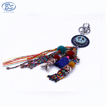 MBK022 peace sign embroidery bohemia baroque style turquoise sea shell fur tassel glass multicolor bead keychain