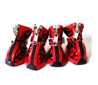 China Manufacturer Wholesale Fashion Leopard PU Waterproof Dog Boots Pet Shoes