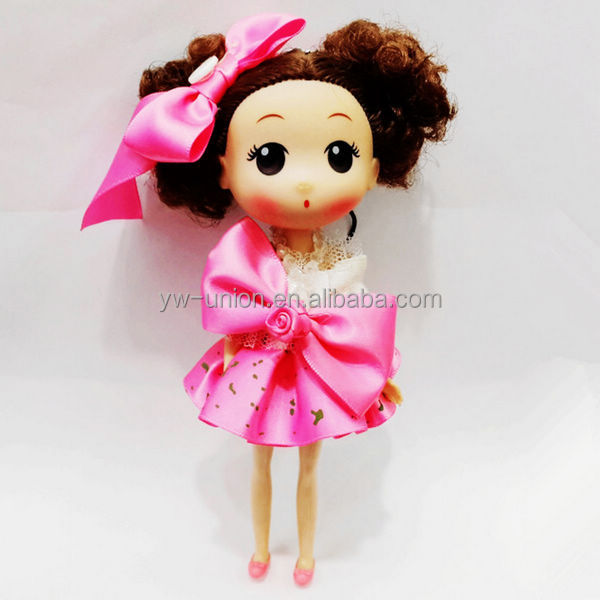 popular pinkStock 18cm mini baby dolls with bowknots