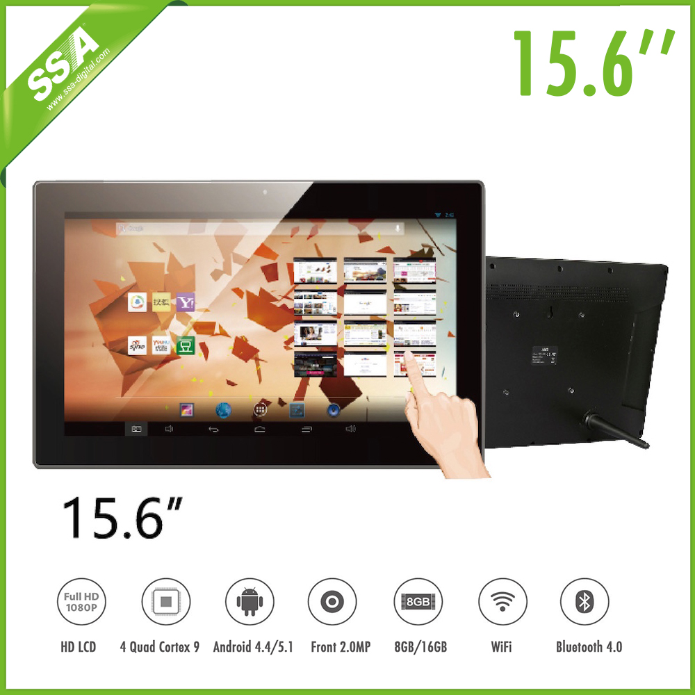 Wall mounted 15.6 inch free software TV hd media player