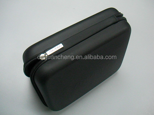 GC-- 9 inch Embossing logo Black pu cosmetics holder eva Toiletry bag