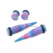 UV Acrylic Blue Pink And Purple Iridescent Ear Taper Expander Body Piercing Jwelry