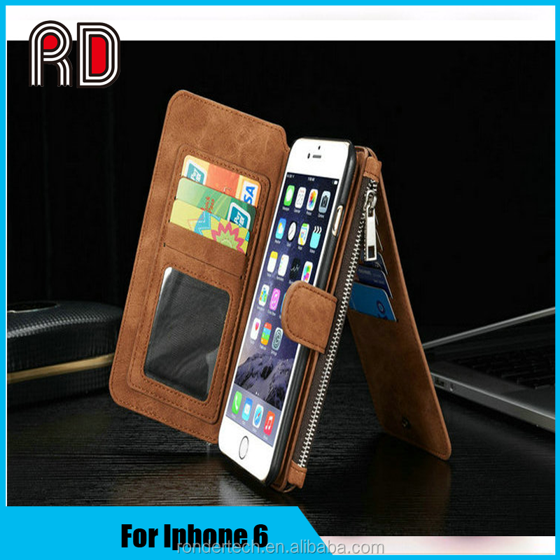 Luxury Leather Case For Iphone 6 Magnet Back Cover PU Leather Wallet Case For Iphone 6 Coque Capa