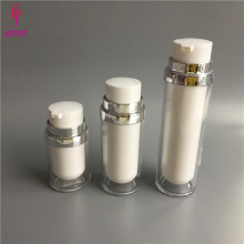 Latest design round shape plastic 50ml twist up airless cosmetic bottle