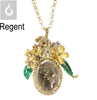 Fancy gold crystal necklace, fashion lady necklace with flower design