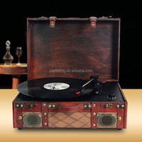 Handmade high quality wood cabinet suitcase vinyl record player with vinyl to MP3 recording