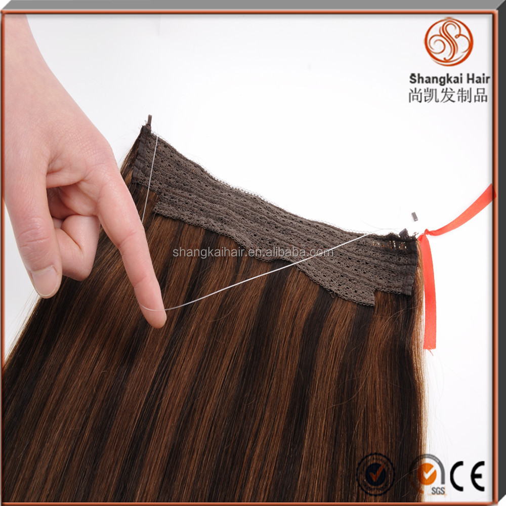 "Wholesale Price 100% Human Hair 8""-30"" Piano Color Cheap Halo Hair Extensions"
