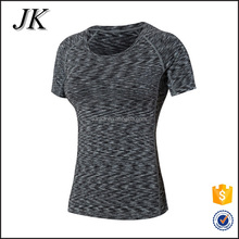 Hot Sale Blank Women Gym Tight Fit Scoop Neck Short Sleeve T Shirt for Fitness