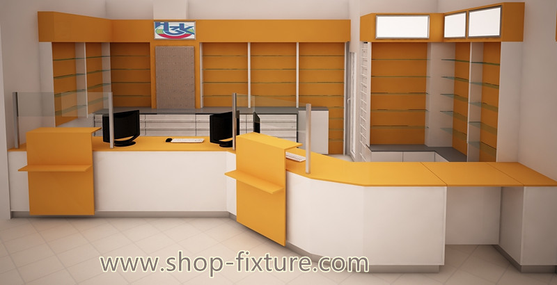 Pharmacy display furniture with medical store counter for sale