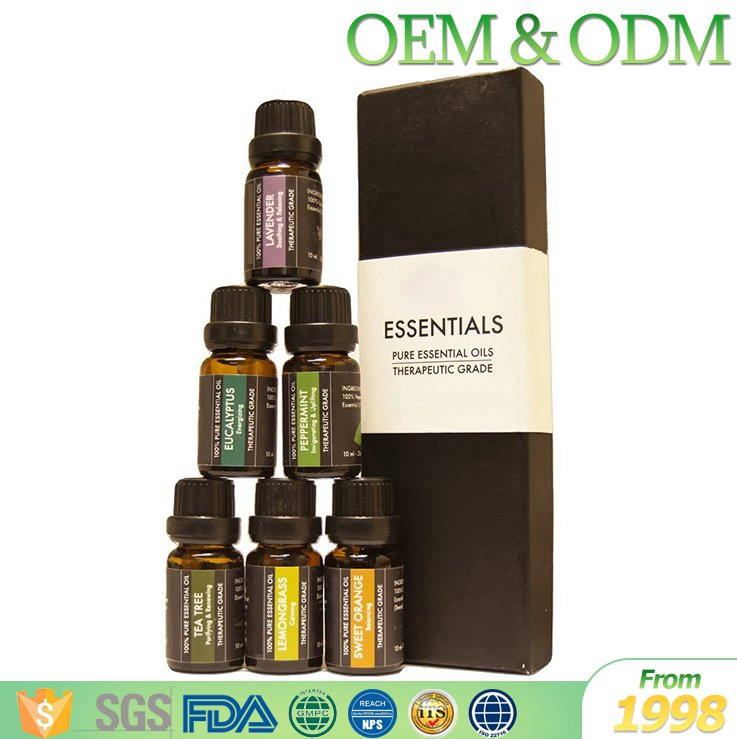 Free sample 100% pure 6pcs/set glass bottle essential oil set natural body massage oil