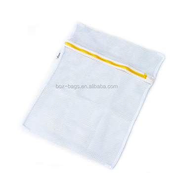Customized white mesh laundry bag with zipper