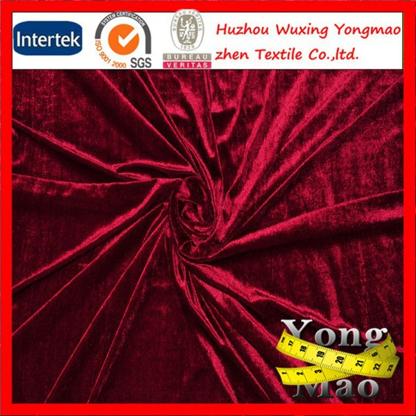 crushed velvet / 100% silk velvet fabric 160-200GSM for garments and sofa fabric