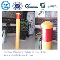 Red Reflective Tape Yellow Powder Coated Steel Bollard / Metal Road Bollard With Top (ISO SGS TUV Approved)