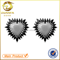hot sale wholesale sterling silver 925 stamped zirconia heart stud earrings