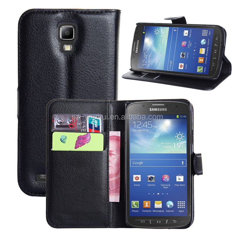 Factory Price Lichee Leather Pouch Wallet Case Folio Stand Cover for Samsung GALAXY S4 Active i9295
