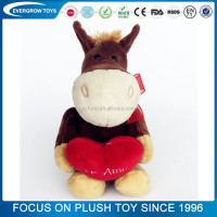 hot sale custom donkey hugging heart plush soft toy