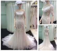 2016 Western Style Off the Shoulder Champagne Mermaid Handmade Flowers Appliqued Tulle Lace Wedding Dresses with Sleeves A121