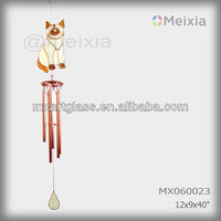 MX060023 wholesale tiffany style stained glass craft cat decoration metal wind chime
