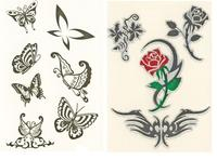 body sticker tattoos in flower and butterflt shape