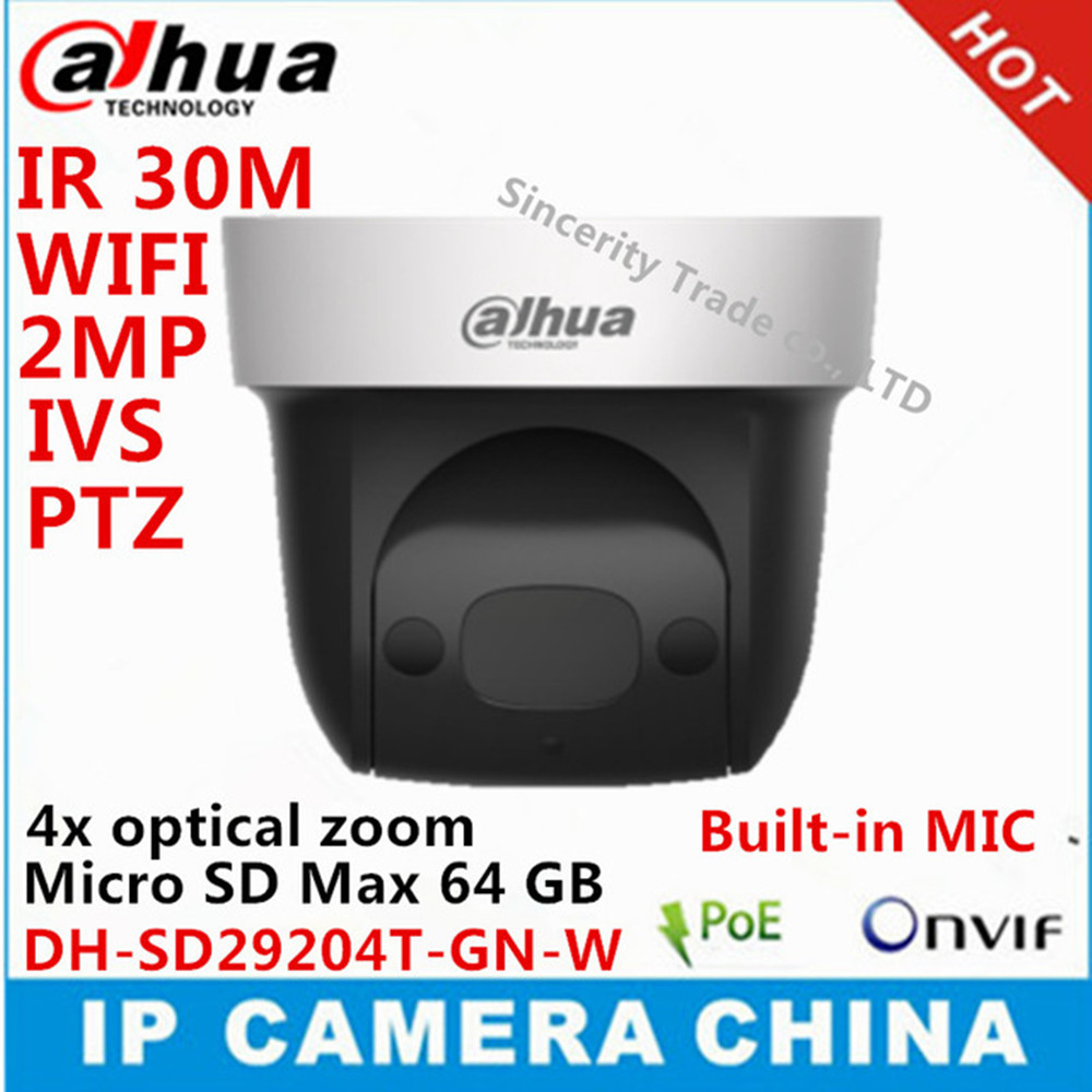 Dahua DH-SD29204T-GN-<strong>W</strong> 2Mp Network Mini Speed Dome 4x optical zoom PTZ ip camera built-in MIC WIFI SD29204T-GN-<strong>W</strong>