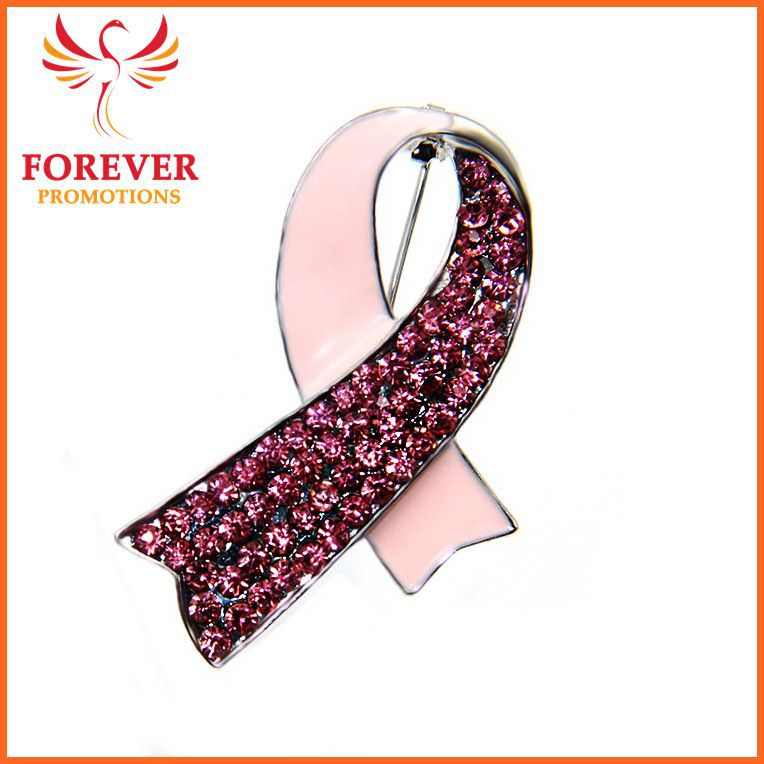 2016 Elegant Brooch Pin Pink Ribbon Custom Breast cancer Awareness Brooch