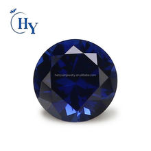 Industrial loose gemstone 6mm 34# round cut synthetic corundum blue sapphire