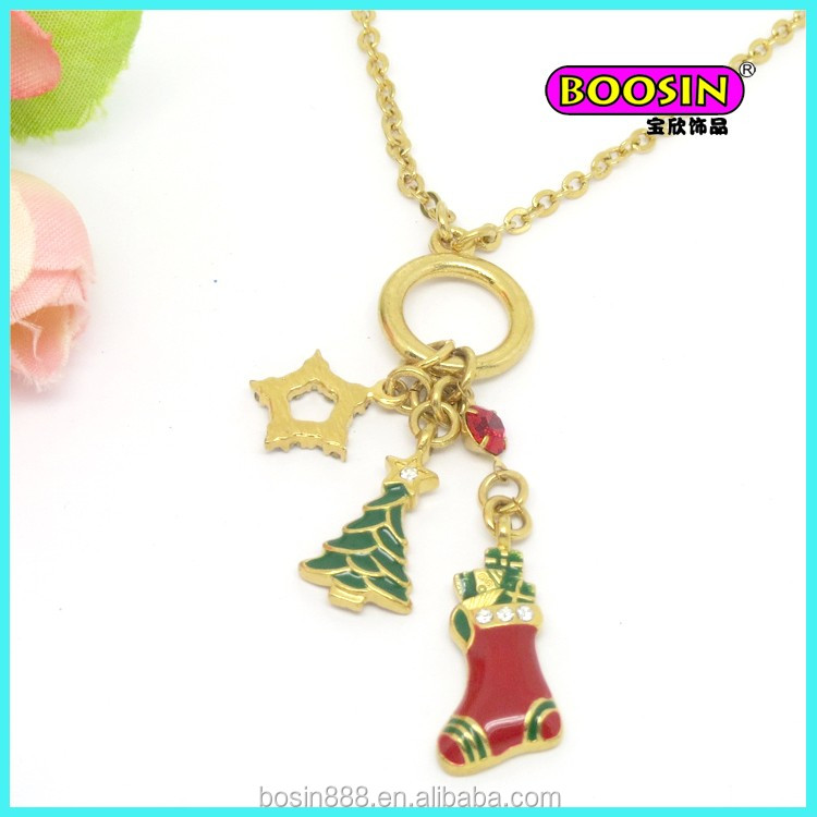 New 18 gold long chain designs custom enamel Christmas necklace jewelry #13634