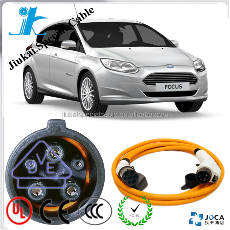 Car charger with cable EVC07E2Q-H (TUV) wire ev charging cable J1772 Current select 16/32Amp