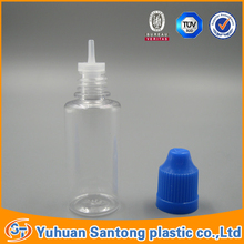 20ml PET plastic e liquid bottles for e-cig oil with middle childproof transparent cap