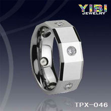 tungsten Zircon Engagement Ring vibrator tongue ring Colorful Crystal Stone Tungsten Ring