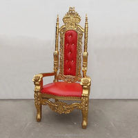 New High End Carved Mahogany King Lion Gothic Throne Chair Gold/Silver Finish