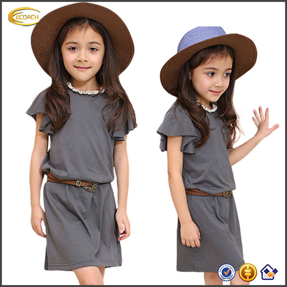 Ecoach Latest casual style kids dresses 2016 hot summer picture of children ankle length elegant casual dress for kid girls
