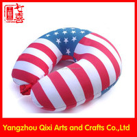 Wholesale flag printed U pillow micro beans filling travel custom U shaped pillow