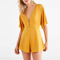 Summer 2018 satin v-neck backless ladies yellow rompers short