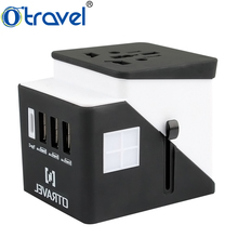 universal interchangeable male to male electrical eu multi power plug adapter with 3 usb port charger and one type-c port