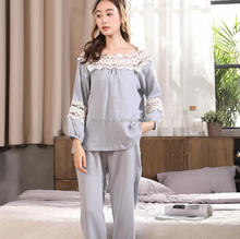 NP0120Z 2017 New Arrived Autumn and winter New Cotton Pajamas Women Hollow Lace Sweet Sexy Home Clothing Suit