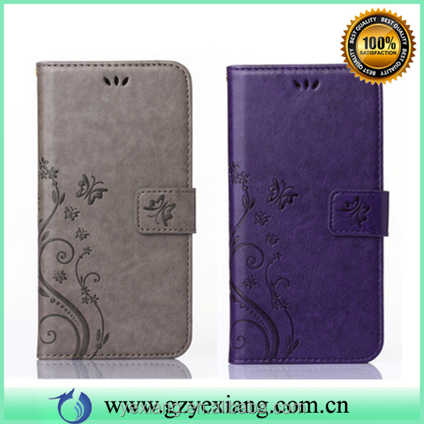Mobile phone cover case embossed flower wallet leather pouch case for huawei p8 mini flip cover case with card slots