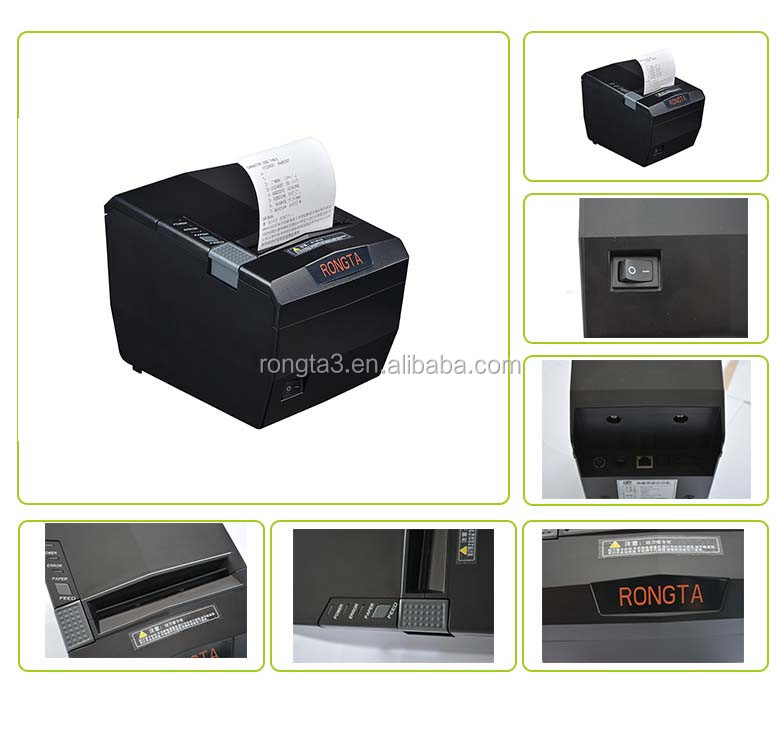 250mm/s receipt thermal printer with USB/Serial/Ethernet/Parallel for Windows and OPOS driver