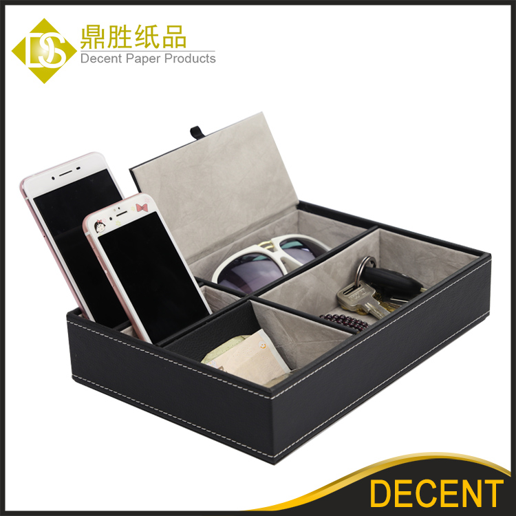 Men's PU Office Table Organizer Watch Cufflinks Storage Case Box