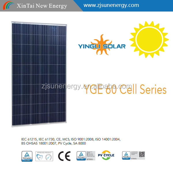 CHINA BEST FACTORY Yingli 60 cell poly 250w255w260w265w270w275w solar panel
