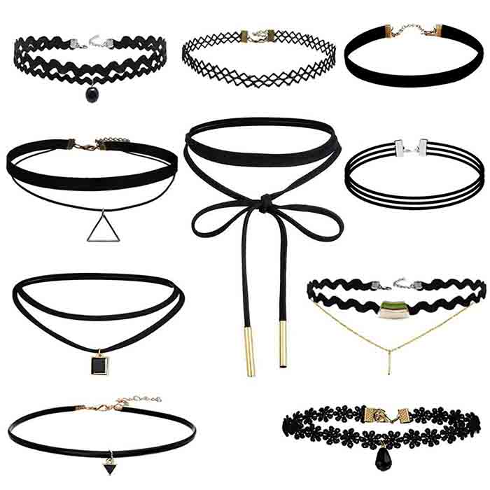 Gothic fashion with creative paragraph of 9 articles choker neck combination