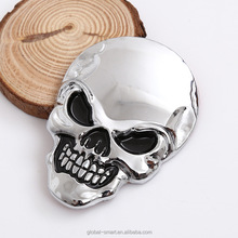 Cheap Cost 3D Metal Skull Motorcycle Bike Car Stickers Logo Emblem Badge Decals for Car Styling Decoration Silver Gold