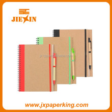 Wholesale school supplies silk printing kraft cover spiral notebooks with pen