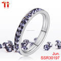 3mm stainless steel ring inlay circle 5AAA zircon Fashion stacking ring Combination ring