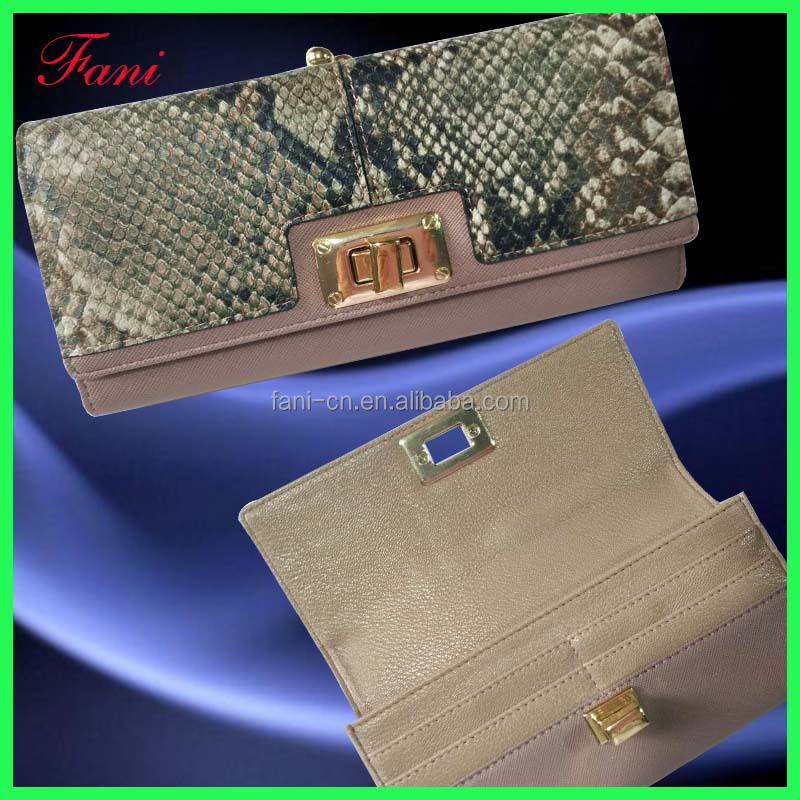 2016 new design women leather wallet and fashion genuine snake leather purse with lock for wholesale