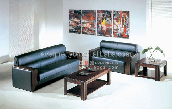 Wooden Frame Lounge PU Sofa