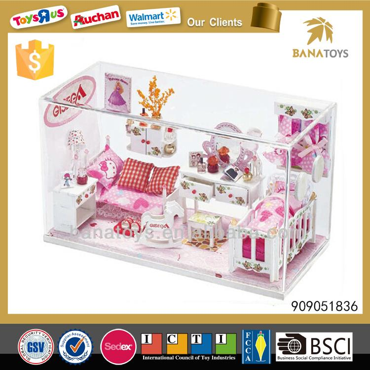 Christmas gift princess toy wooden doll house with light